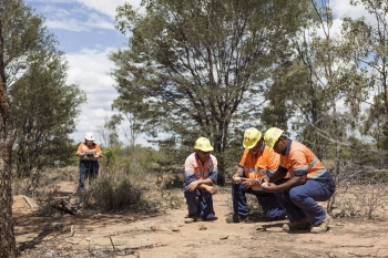 Geologists inspecting samples, Queensland, Australia