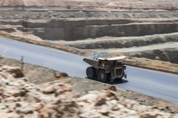 Trasporting iron ore, Sishen iron ore mine, South Africa