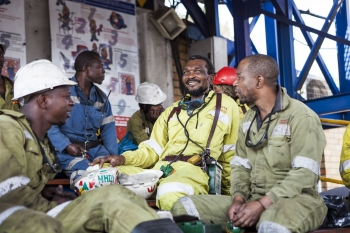 Coal miners on a break, Greenside colliery, South Africa