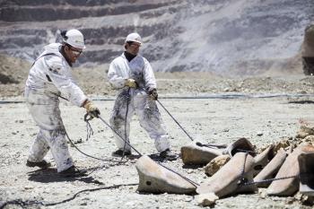 Mining machinery maintenance, Sishen iron ore mine, South Africa