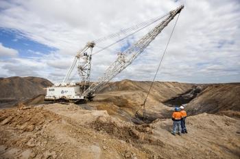 Overview of open cast coal mine, Queensland, Australia