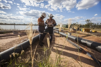 Testing local water samples, Moranbah North mine, Australia