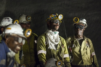 Shift meeting, Greenside colliery, South Africa