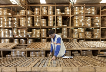 Inspecting core samples, Amapá iron ore mine, Brazil