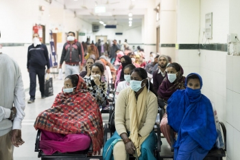Outpatients waiting to be seen at the National Institute of Tuberculosis and Respiratory Diseases, New Delhi.