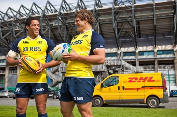 Joe Ansbro and Ross Ford for DHL. Murrayfield, Scotland