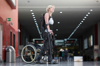 PR launch of a bionic exoskeleton, London