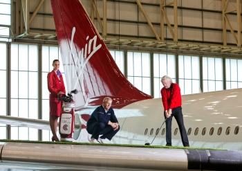 Colin Montgomerie & Richard Branson, for Virgin. East Midlands Airport